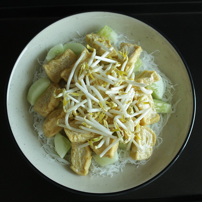 Top with fried tofu and blanched bean sprouts.