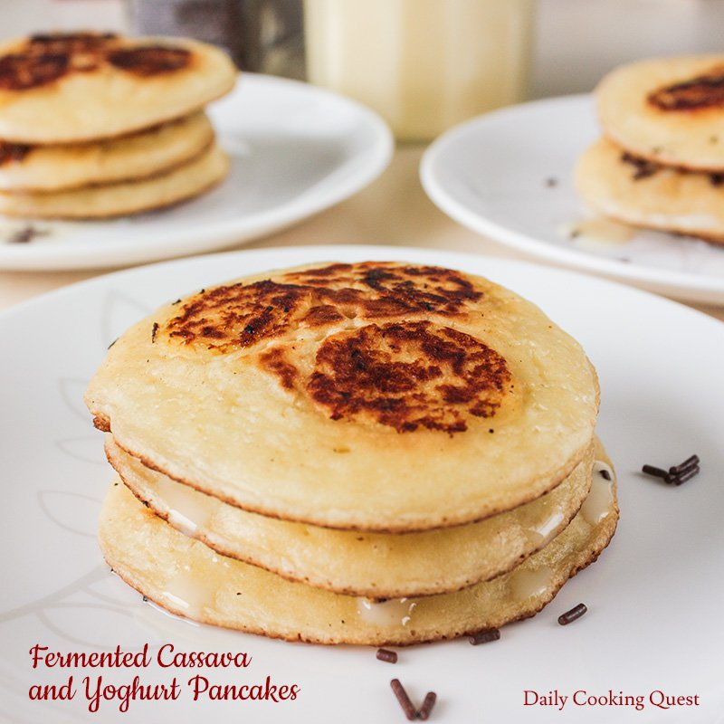Stacks of yoghurt pancakes with fermented cassava slices