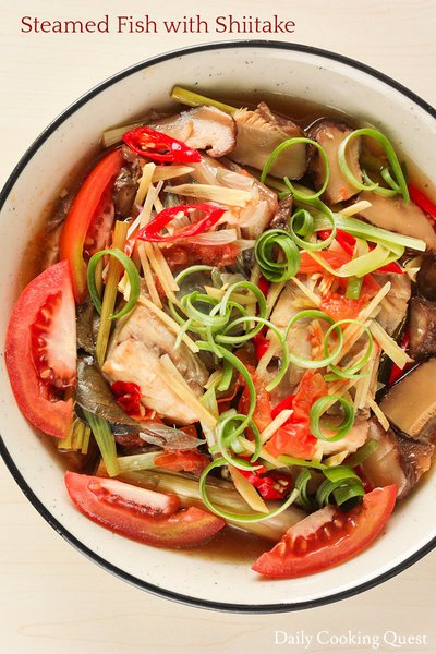 Steamed Fish with Shiitake