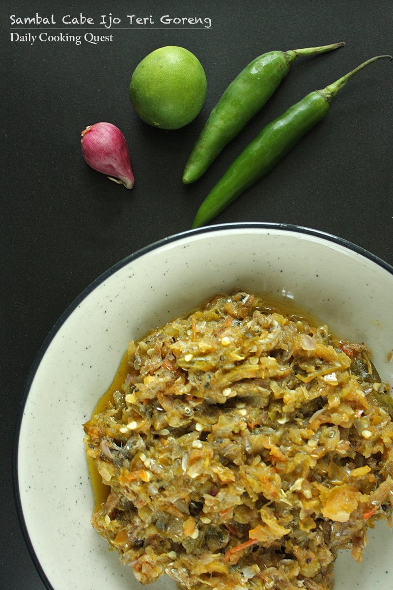Sambal Cabe Ijo Teri Goreng - Fried Anchovies in Green Chili Sauce