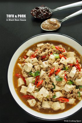 Tofu and Ground Pork in Black Bean Sauce