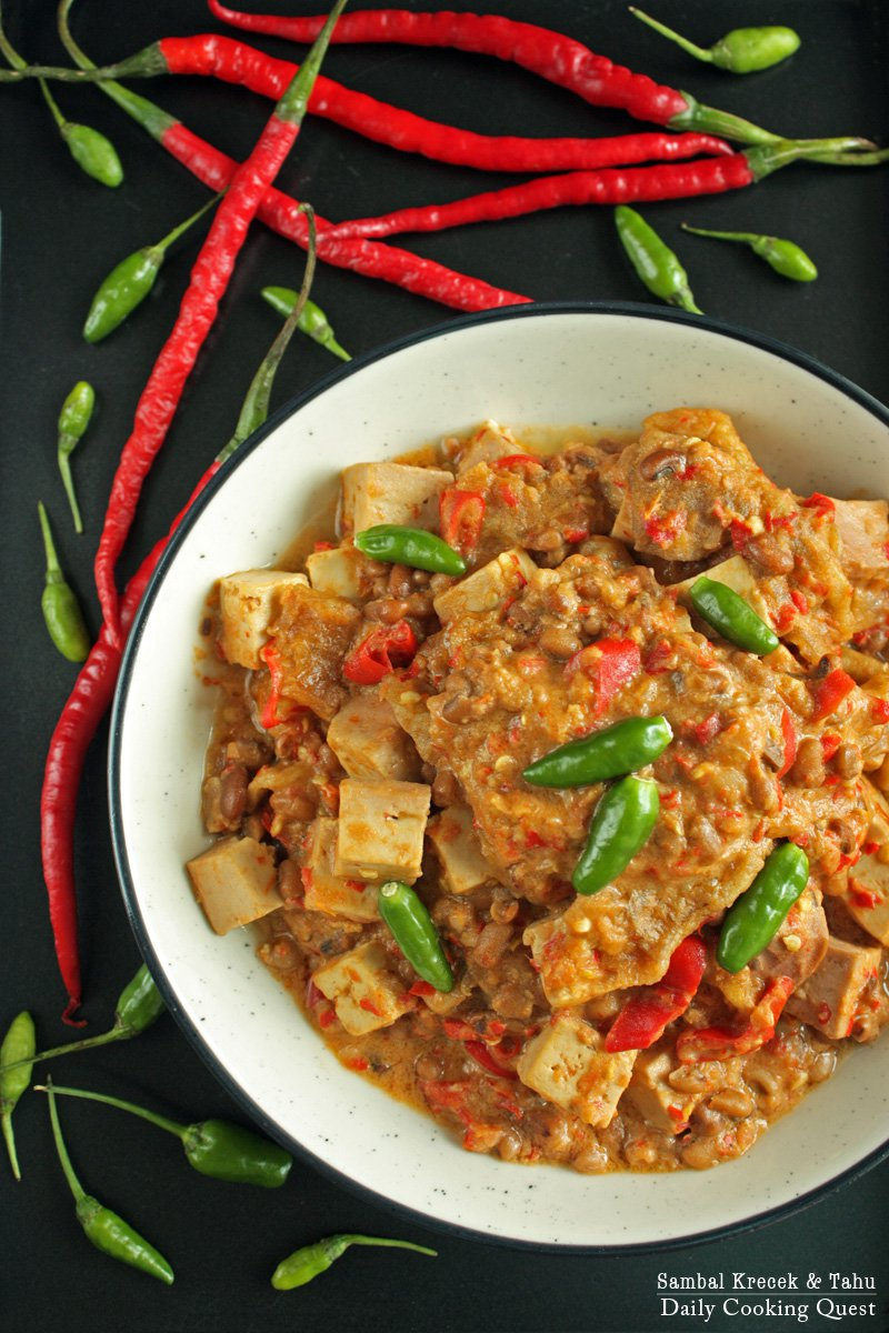 Sambal Krecek dan Tahu - Beef Skin and Tofu in Chili Sauce