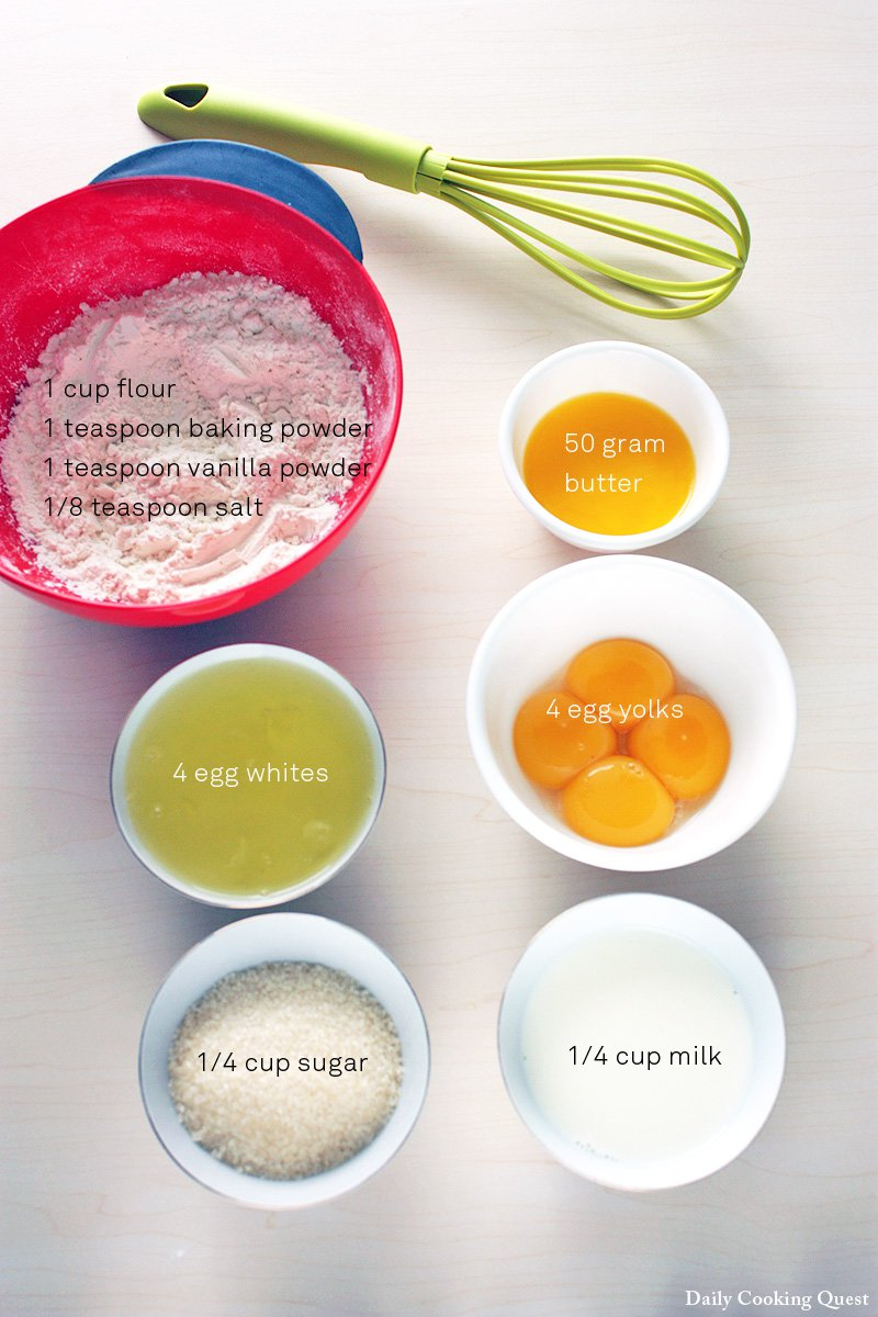 The rest of the ingredienst: flour, baking powder, vanilla powder (or essence), salt, butter, eggs, sugar, and milk.