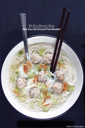 Mi Soa Bakso Babi - Mee Sua with Ground Pork Meatball