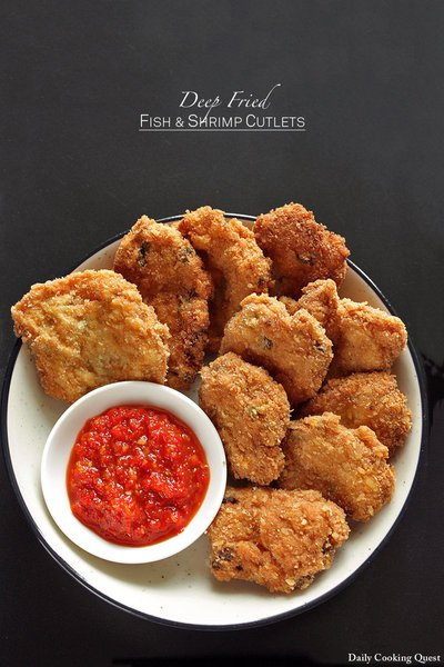 Deep Fried Fish and Shrimp Cutlets