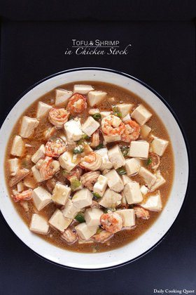 Tofu and Shrimp in Chicken Stock