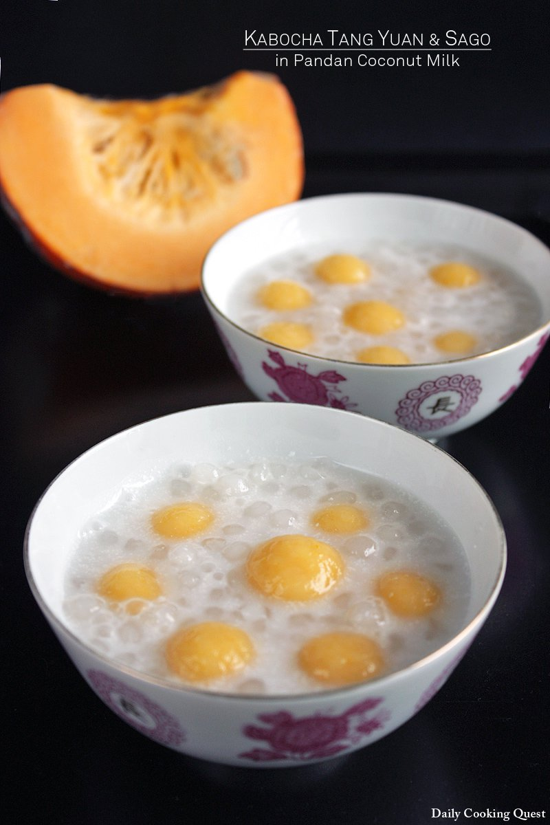 Kabocha Tang Yuan and Sago in Pandan Coconut Milk