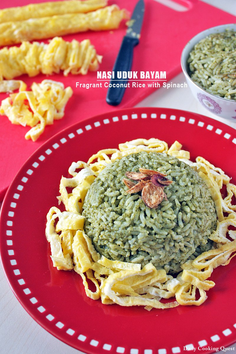 Nasi Uduk Bayam - Fragrant Coconut Rice with Spinach