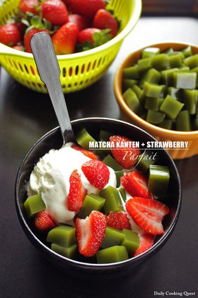 Matcha Kanten and Strawberry Parfait