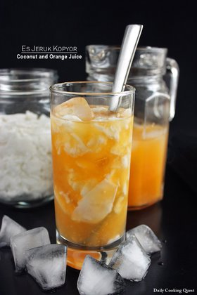 Es Jeruk Kopyor - Coconut and Orange Juice