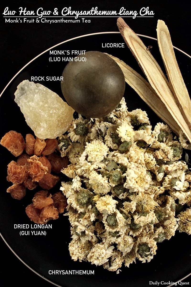 Luo Han Guo and Chrysanthemum Liang Cha - Monks' Fruit and Chrysanthemum Tea Ingredients