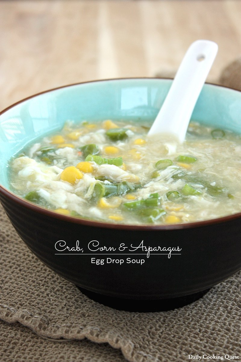 Crab, Corn, and Asparagus Egg Drop Soup