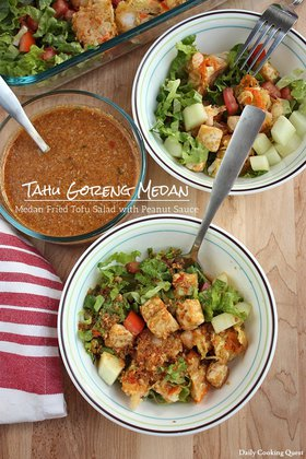 Tahu Goreng Medan - Medan Fried Tofu Salad with Peanut Sauce