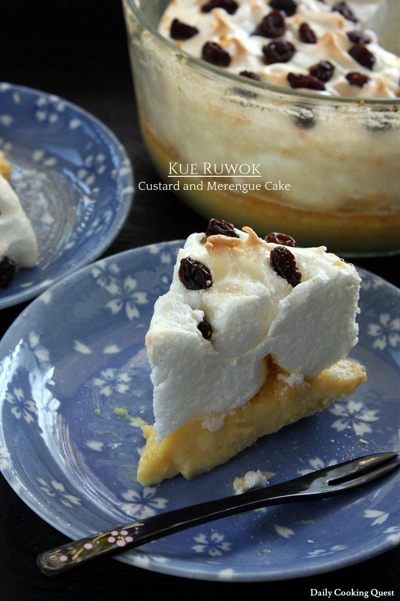 Kue Ruwok - Custard and Merengue Cake