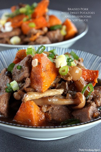 Braised Pork with Sweet Potatoes and Mushrooms in Soy Sauce