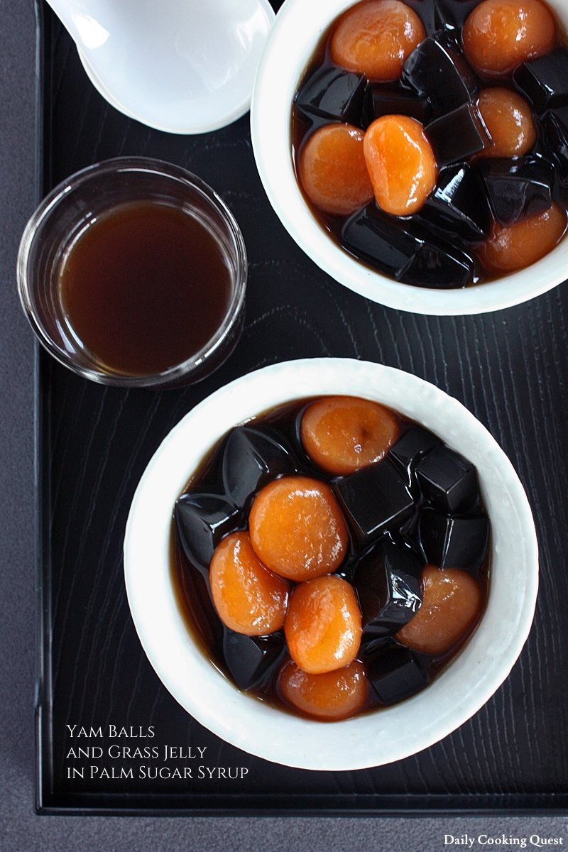 Yam Balls and Grass Jelly in Palm Sugar Syrup