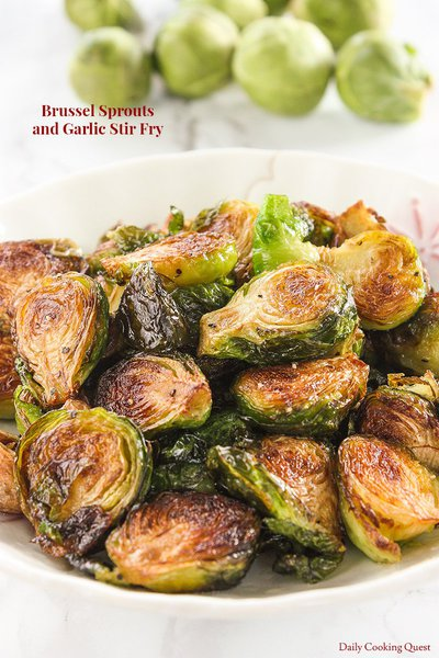 Brussels Sprouts and Garlic Stir Fry