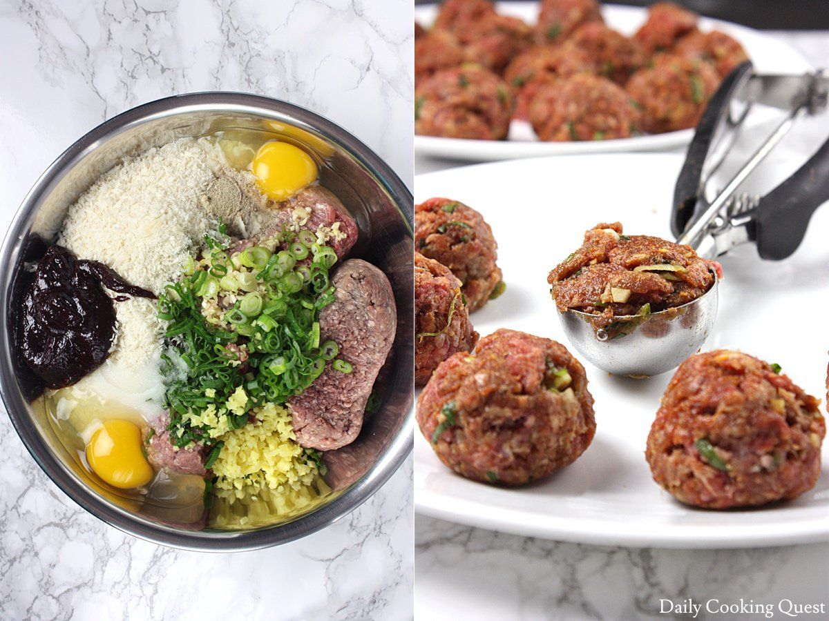Left: ingredients for the meatballs; Right: portioning meatballs with ice cream scoop.
