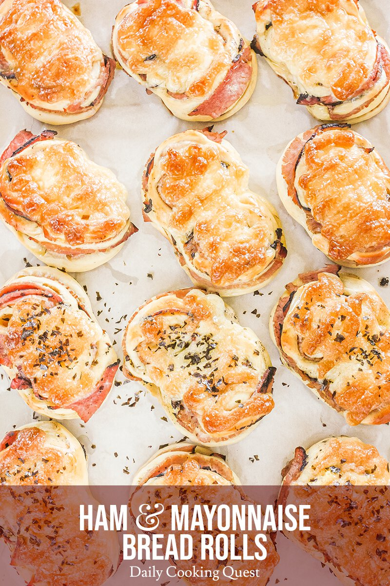 Ham and Mayonnaise Bread Rolls, out from the Oven