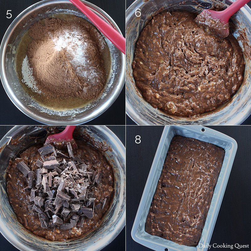 "5. Sift all purpose flour, cocoa powder, baking soda, and salt; 6. Stir until just combined; 7. Add chocolate chunks; 8. Stir and pour into a greased 9""x5"" loaf pan."