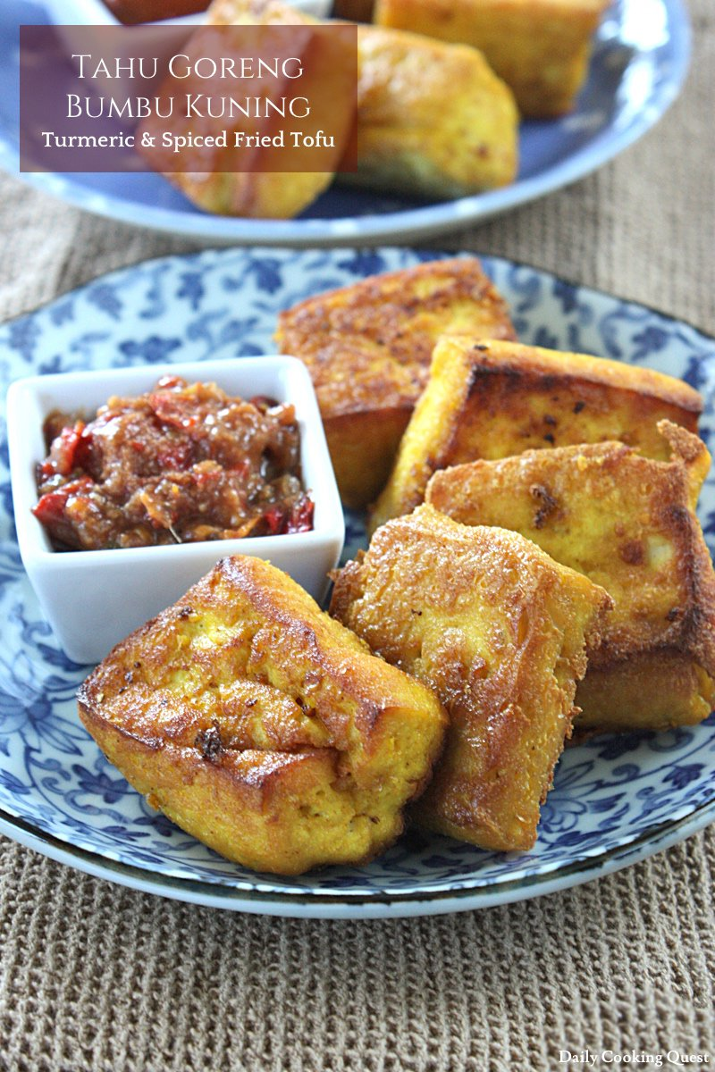 Tahu Goreng Bumbu Kuning - Turmeric and Spiced Fried Tofu