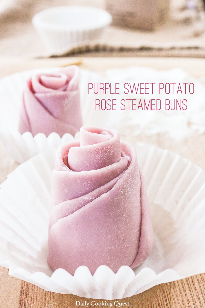 Purple Sweet Potato Rose Steamed Buns. Just shaped and prior to proofing.