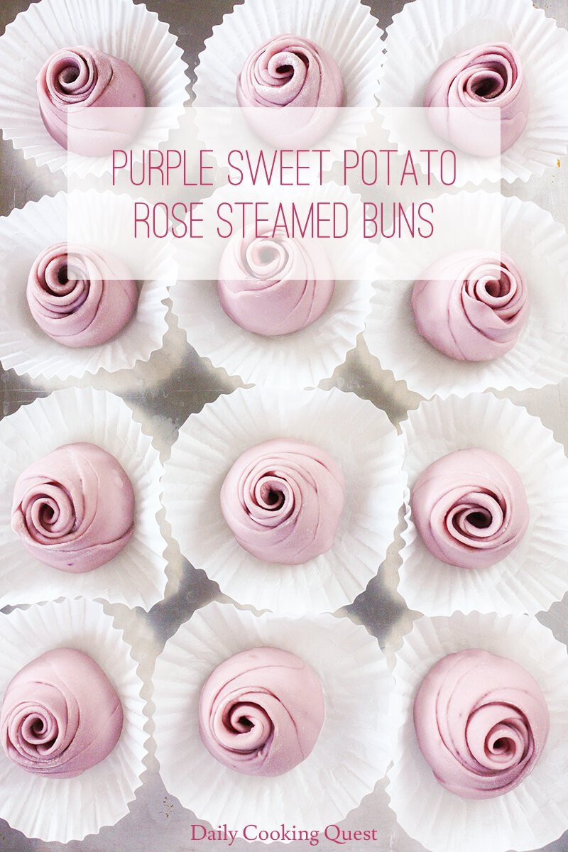 Purple Sweet Potato Rose Steamed Buns. After proofing.