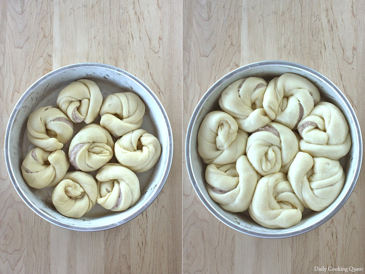 Taro swirl bread; left: prior to proofing; right: after proofing.