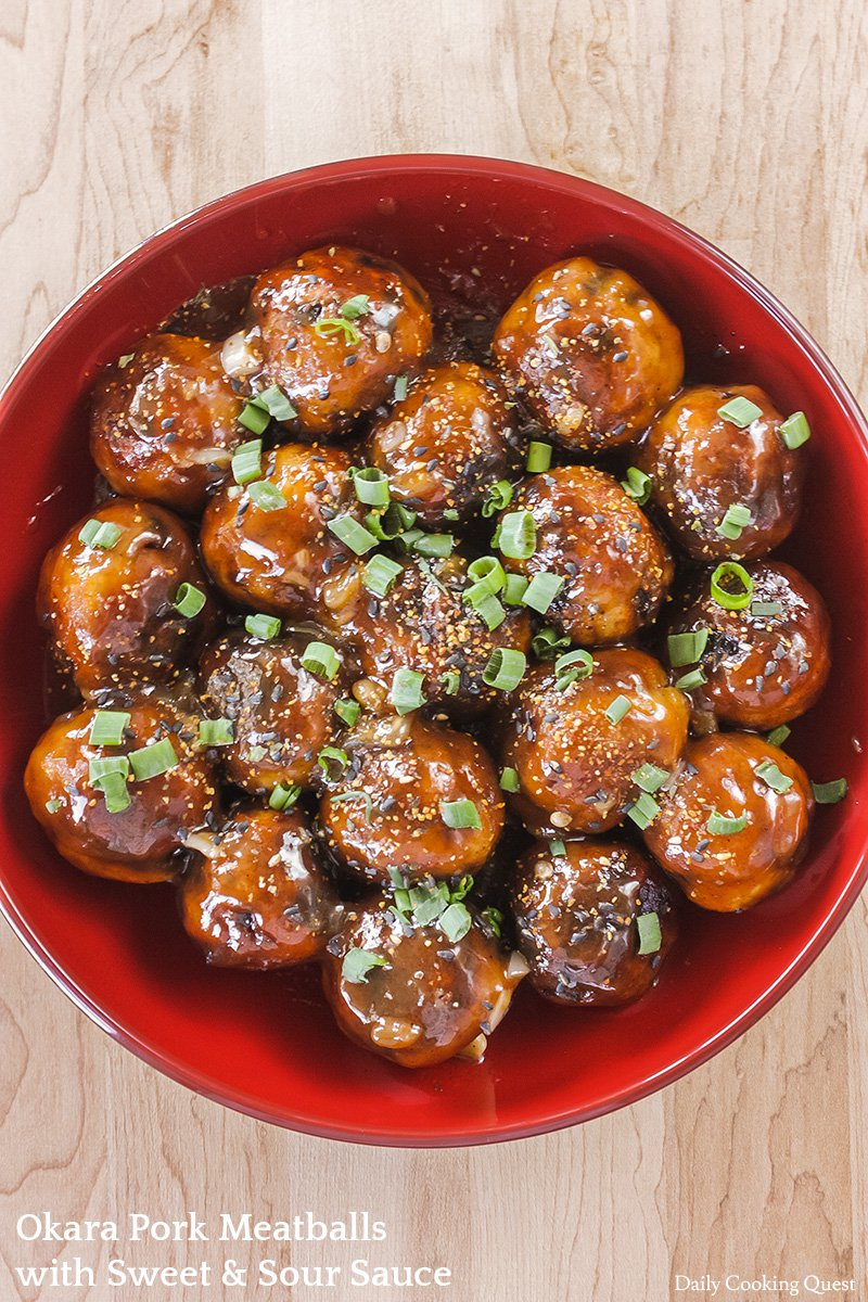 Okara Pork Meatballs with Sweet and Sour Sauce