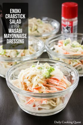 Enoki Crabstick Salad with Wasabi Mayonnaise Dressing