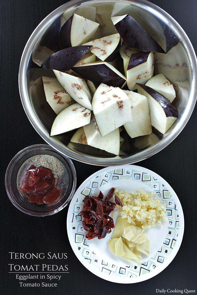 Ingredients for Terong Saus Tomat Pedas - Eggplant in Spicy Tomato Sauce