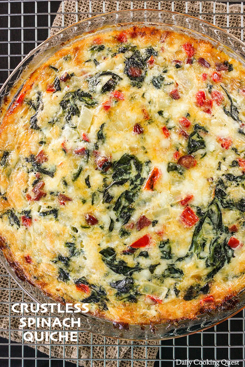 Crustless Spinach Quiche Recipe Daily Cooking Quest