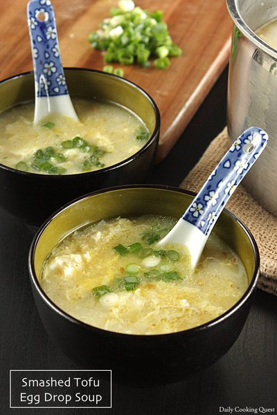 Smashed Tofu Egg Drop Soup