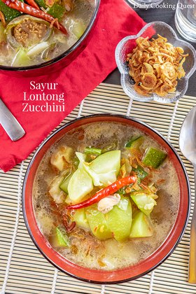 Sayur Lontong Zucchini - Zucchini and Vegetables Coconut Milk Stew