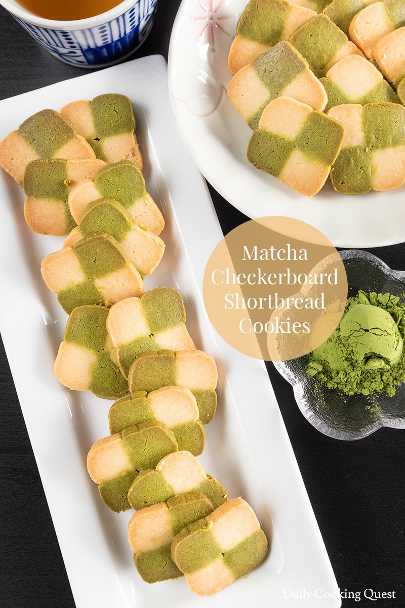 Matcha Checkerboard Shortbread Cookies.