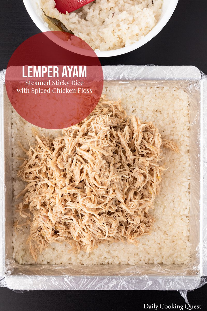 Lemper Ayam - Steamed Glutinous Rice with Spiced Chicken Floss