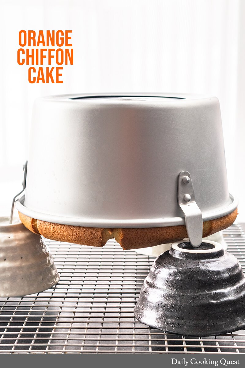 Orange Chiffon Cake - make sure to invert the pan while cooling the cake to prevent it from collapsing
