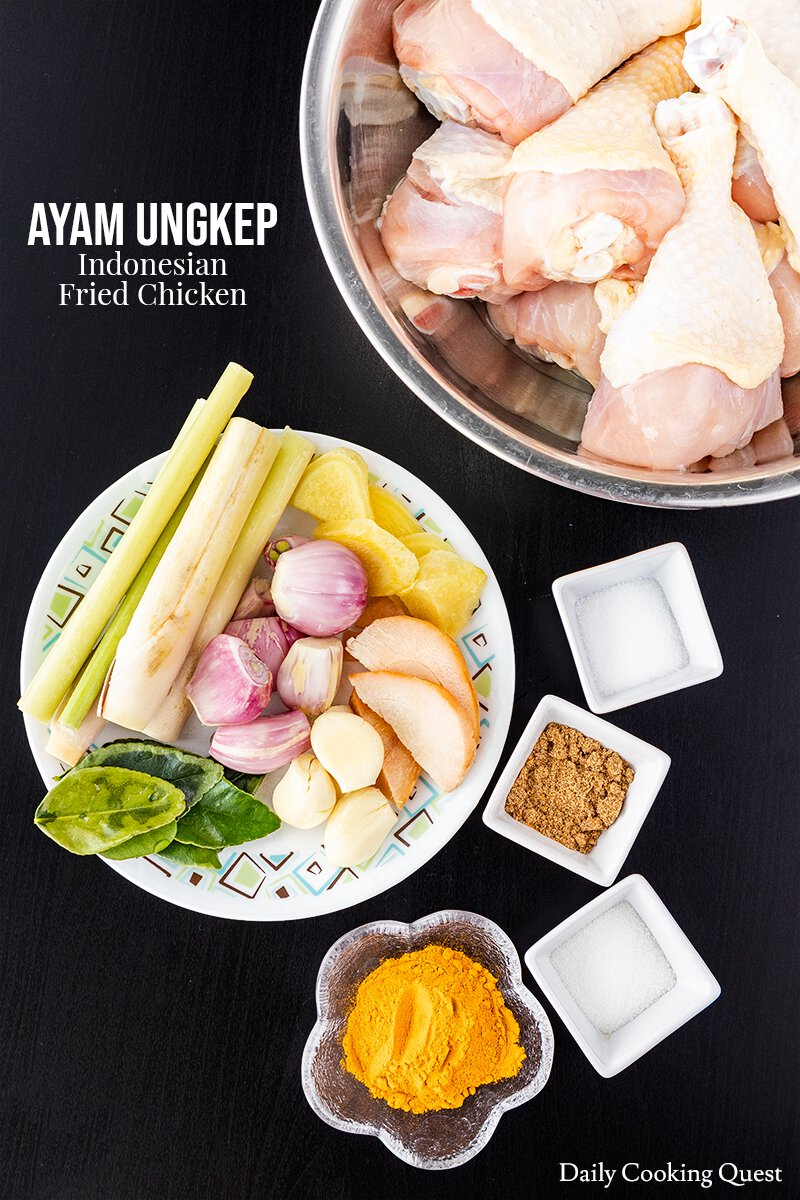 Ingredients for Ayam Ungkep - Indonesian Fried Chicken