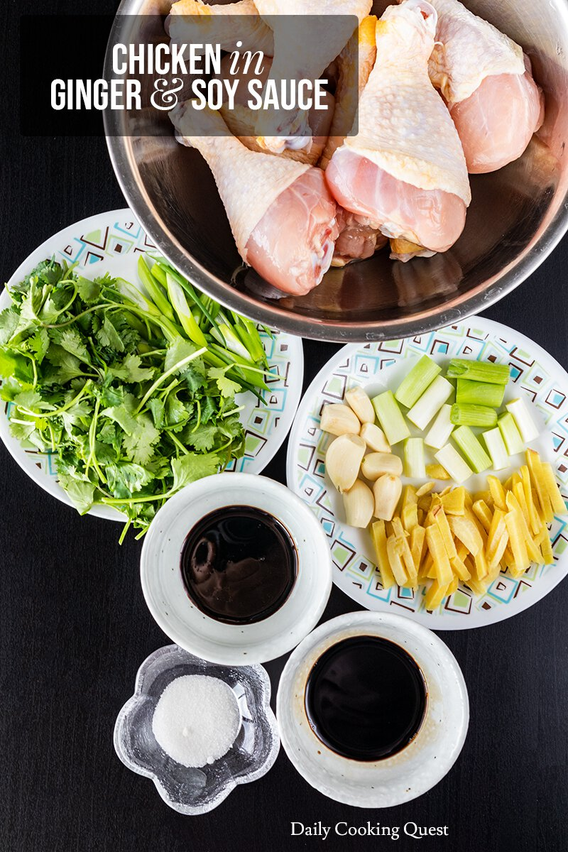 Ingredients for Chicken in Ginger and Soy Sauce
