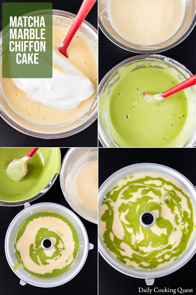 How to prepare the batter for a matcha marble chiffon cake.