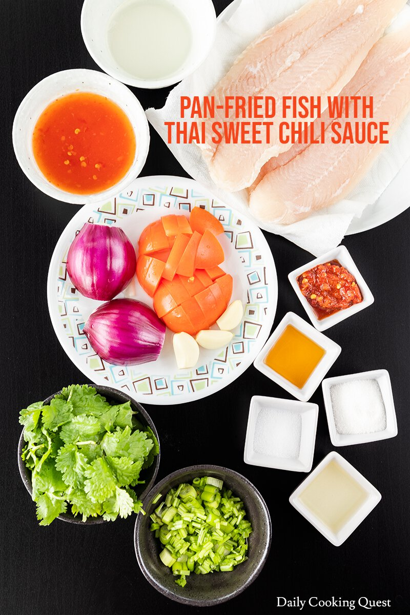 Ingredients for Pan-Fried Fish with Thai Sweet Chili Sauce