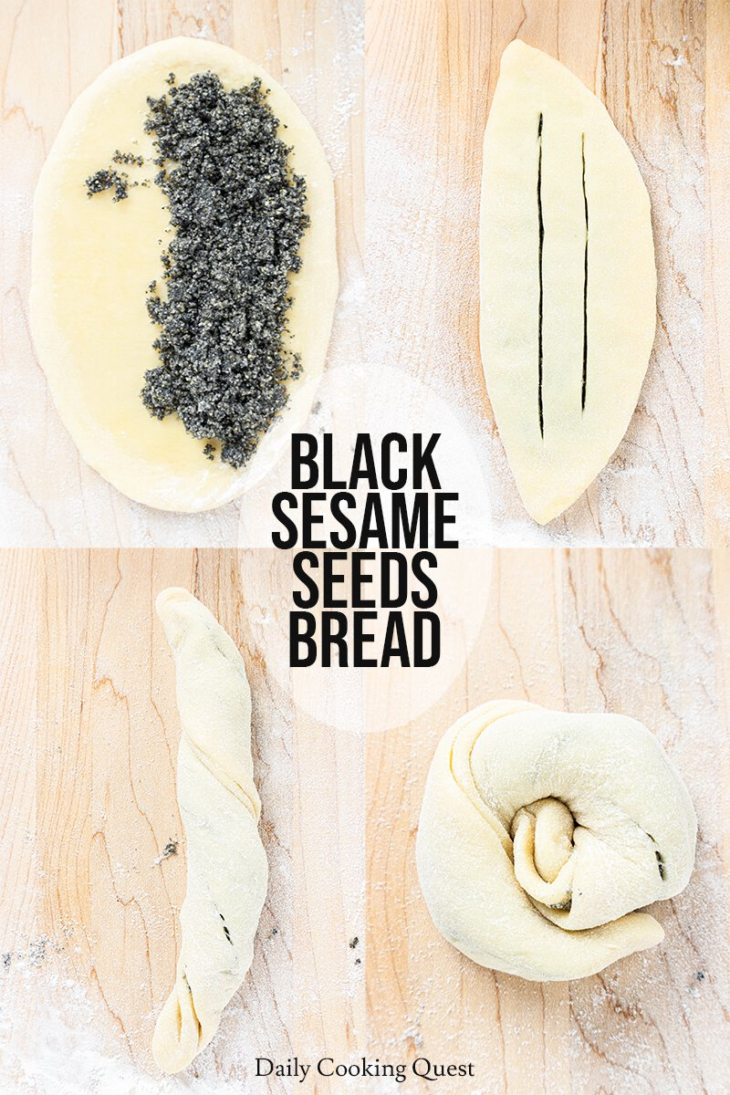 How to create flower shape for the black sesame seeds bread roll.