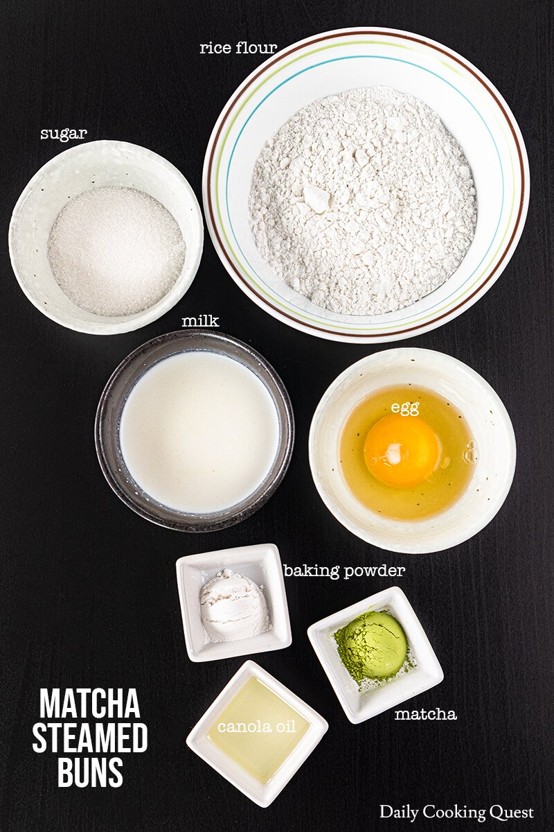 What you need for matcha steamed buns: rice flour, matcha, sugar, baking powder, egg, milk, and canola oil.