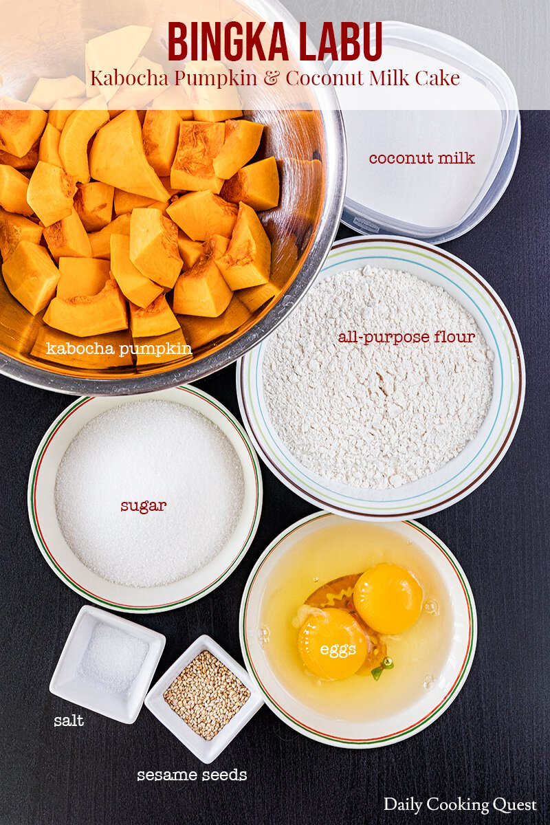 Ingredients to prepare bingka labu - Indonesian kabocha pumpkin and coconut milk cake.
