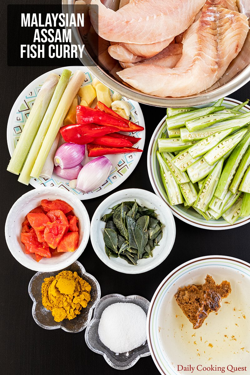 Ingredients to Prepare Malaysian Assam Fish Curry.