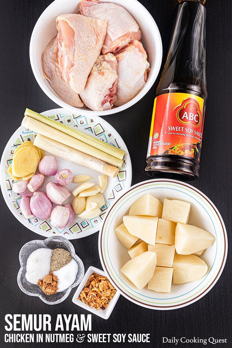 Ingredients to Prepare Indonesian Semur Ayam (Chicken in Nutmeg and Sweet Soy Sauce).