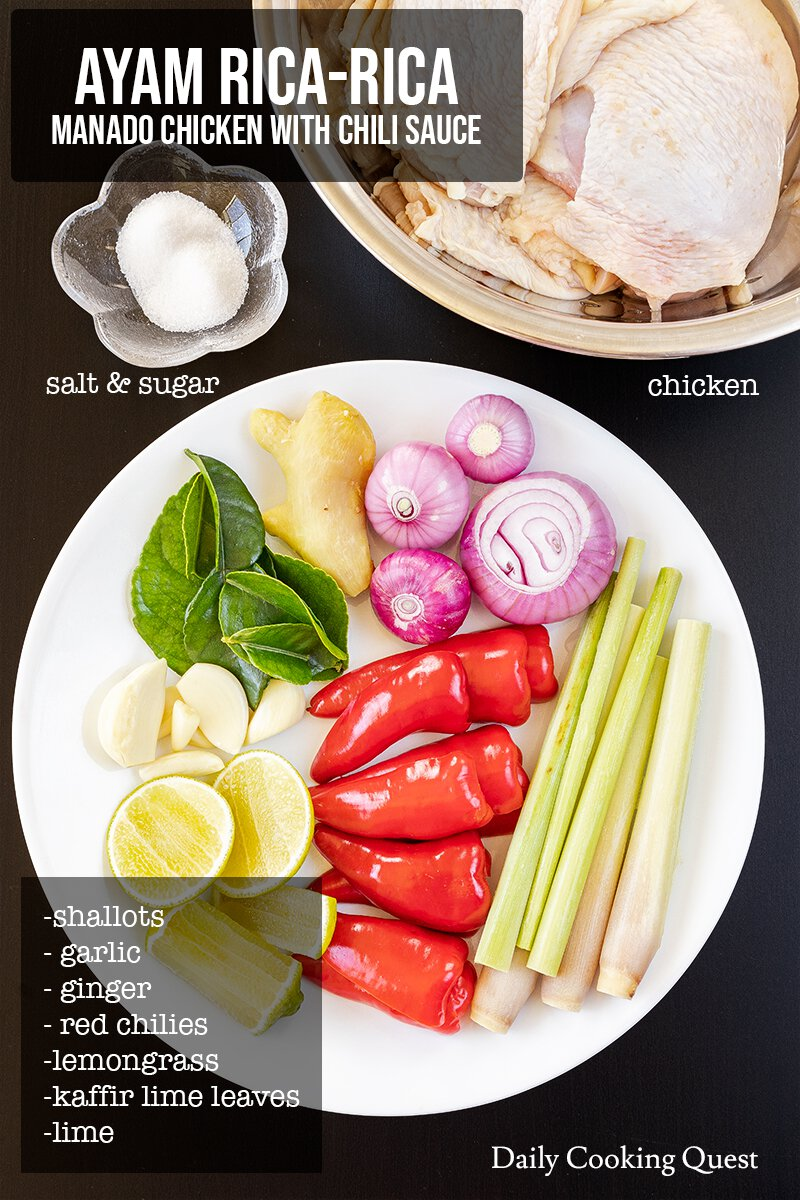 Ingredients to prepare ayam rica-rica (Manado chicken with chili sauce).