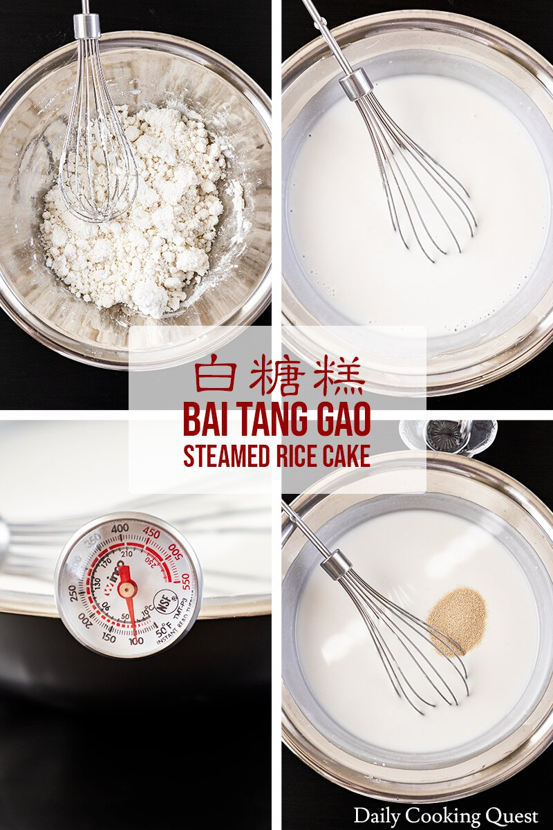 To prepare the bai tang gao batter: (1) Mix rice flour with water and stir into clumps; (2) Add hot boiling water and sugar liquid, whisk into a smooth batter; (3) Wait until the batter cools to 38 Celsius (100 Fahrenheit); (4) Add instant yeast, whisk, cover the bowl and rest in 75 Celsius (170 Fahrenheit) oven for 40 minutes.