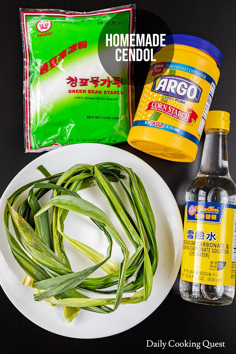 Ingredients for homemade cendol: pandan leaves, mung bean starch, cornstarch, and lye water.