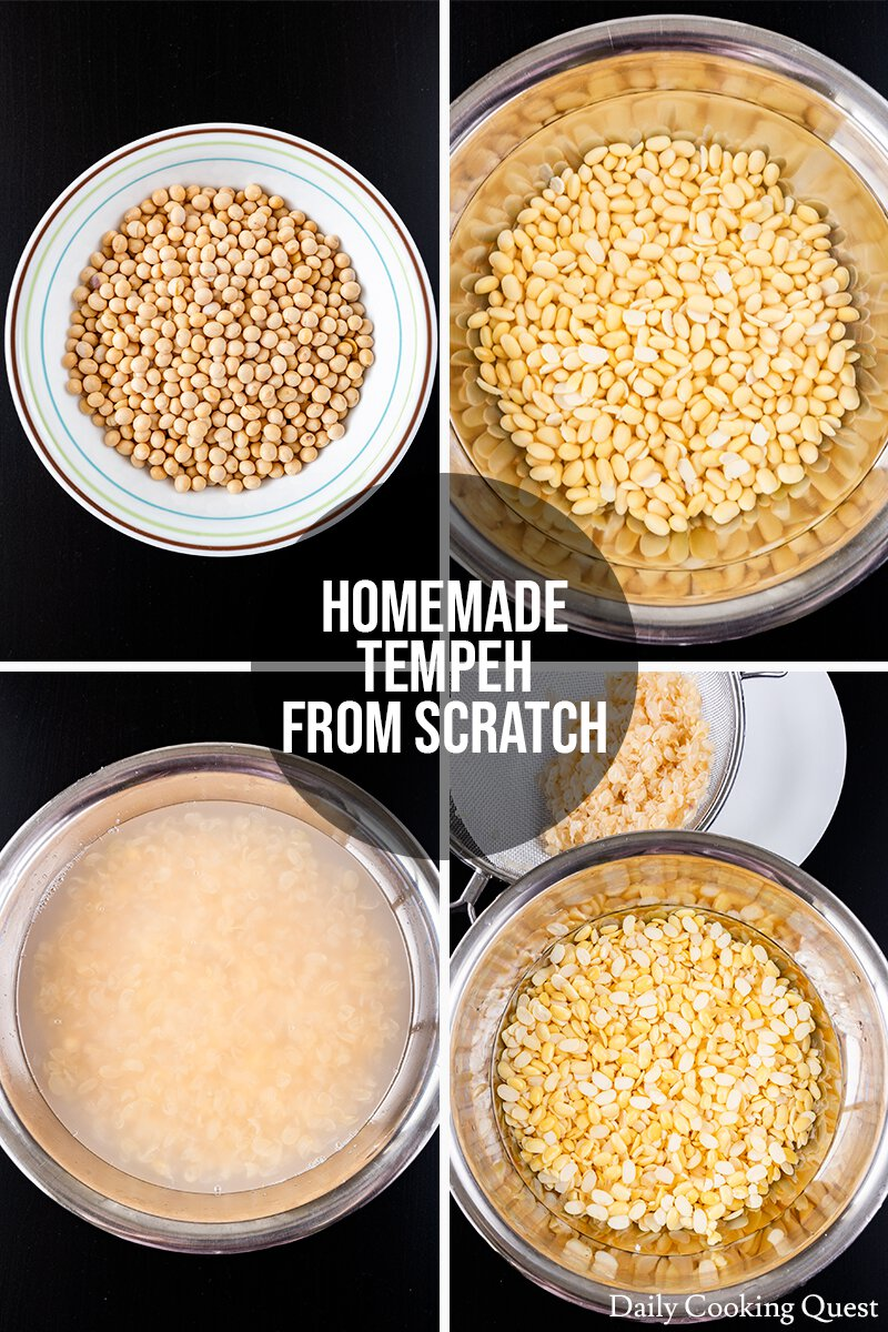 Homemade tempeh guide: (1) Measure dry soybeans. (2) Soak soybeans in cold water for 12 hours. (3) & (4) Dehull the soybeans.